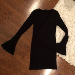 Black knit dress with flare sleeves